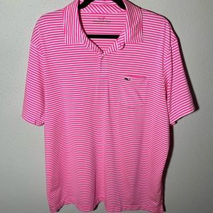 VINEYARDVINES Mens Large Pink White Striped Polo